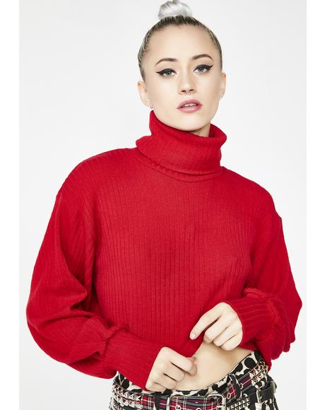 Nizer Balloon Sleeve Crop Jumper