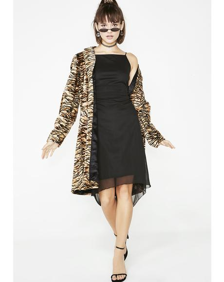 Vintage Black Mesh Midi Dress