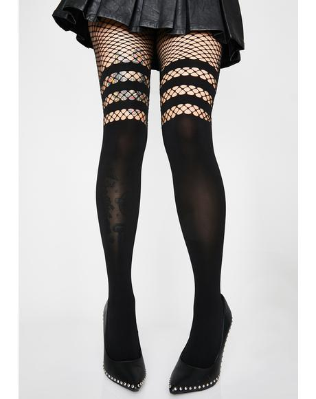 Midnight Play Fishnet Knee High Tights