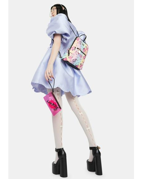 Pastel Rose Backpack With PVC Wristlet
