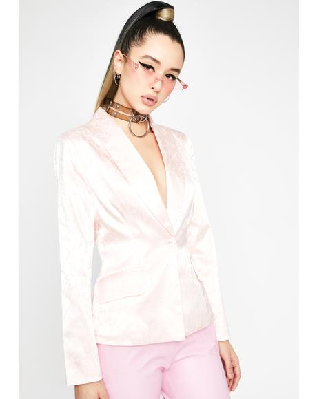 Pretty Roof Top Nights Satin Blazer
