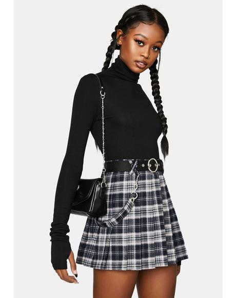 Kitty Moon Belted Plaid Mini Skirt
