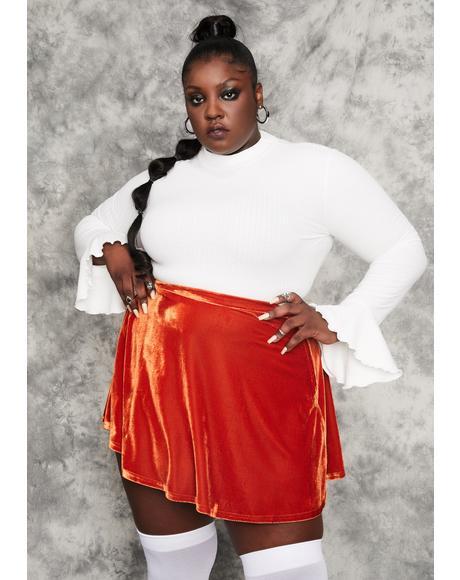 Real History Repeating Velvet Mini Skirt