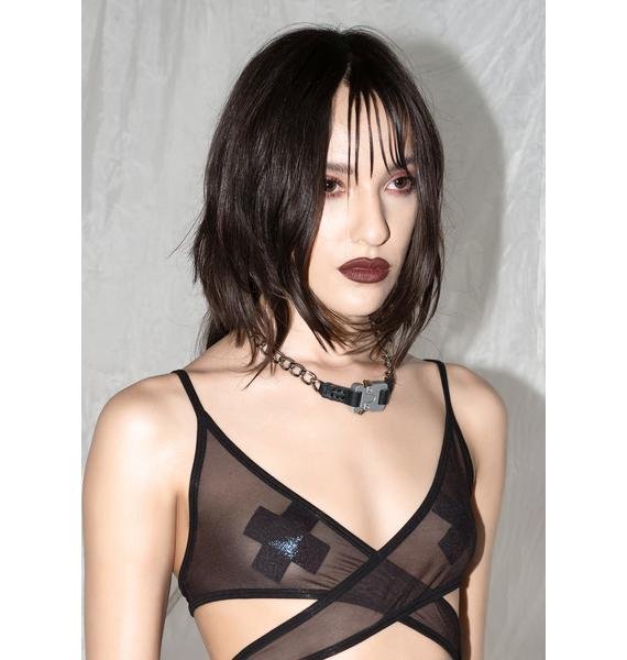 Synth Chain Necklace With Silver Buckle