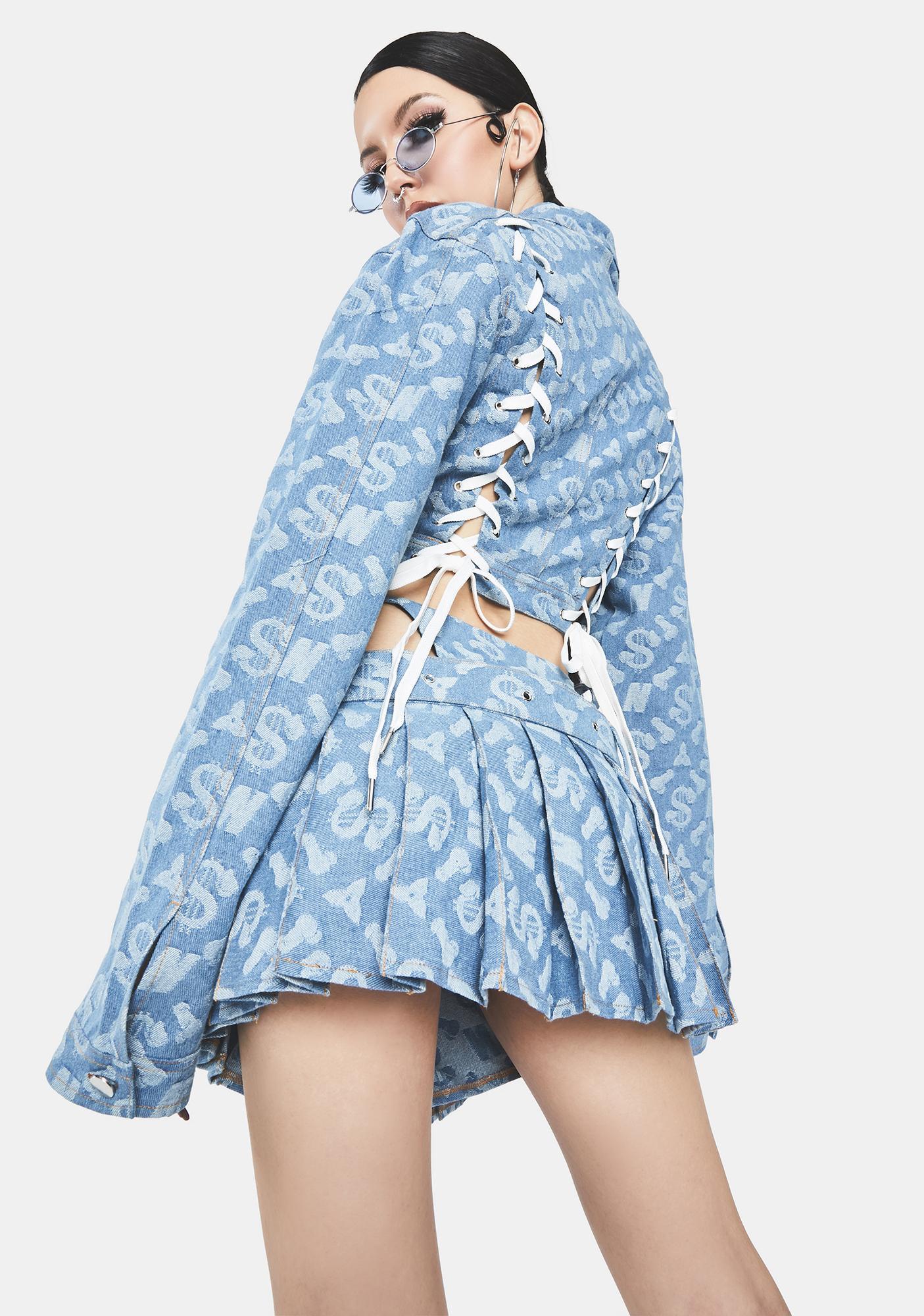 Namilia Dick Monogram Pleated Denim Thong Skirt