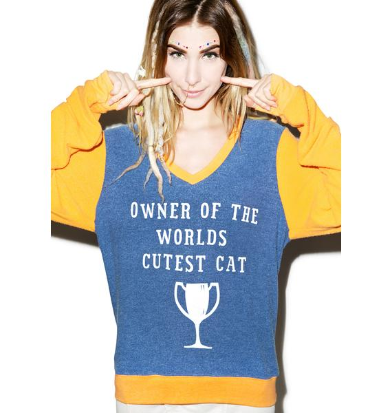 Wildfox Couture World's Cutest Cat V-Neck Baggy Beach Jumper
