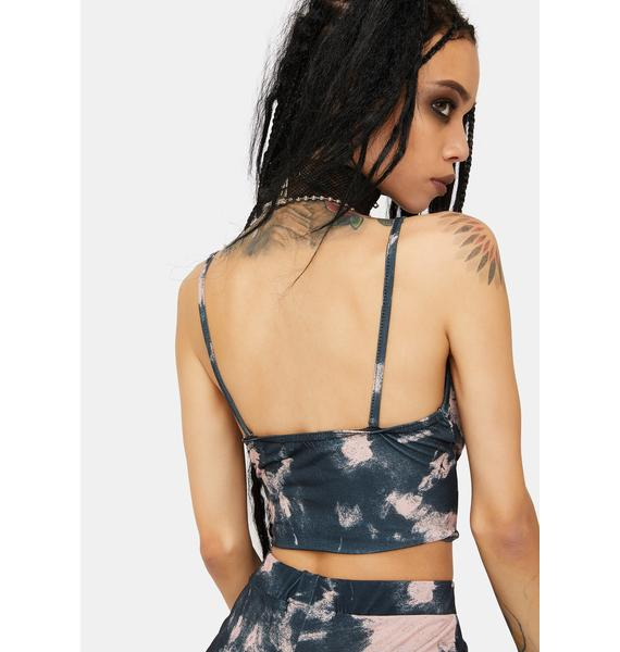 Daisy Street Black And Pink Tie Dye Cami