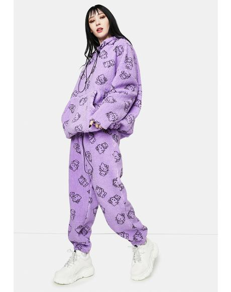 Purple Hello Kitty Printed Fleece Joggers