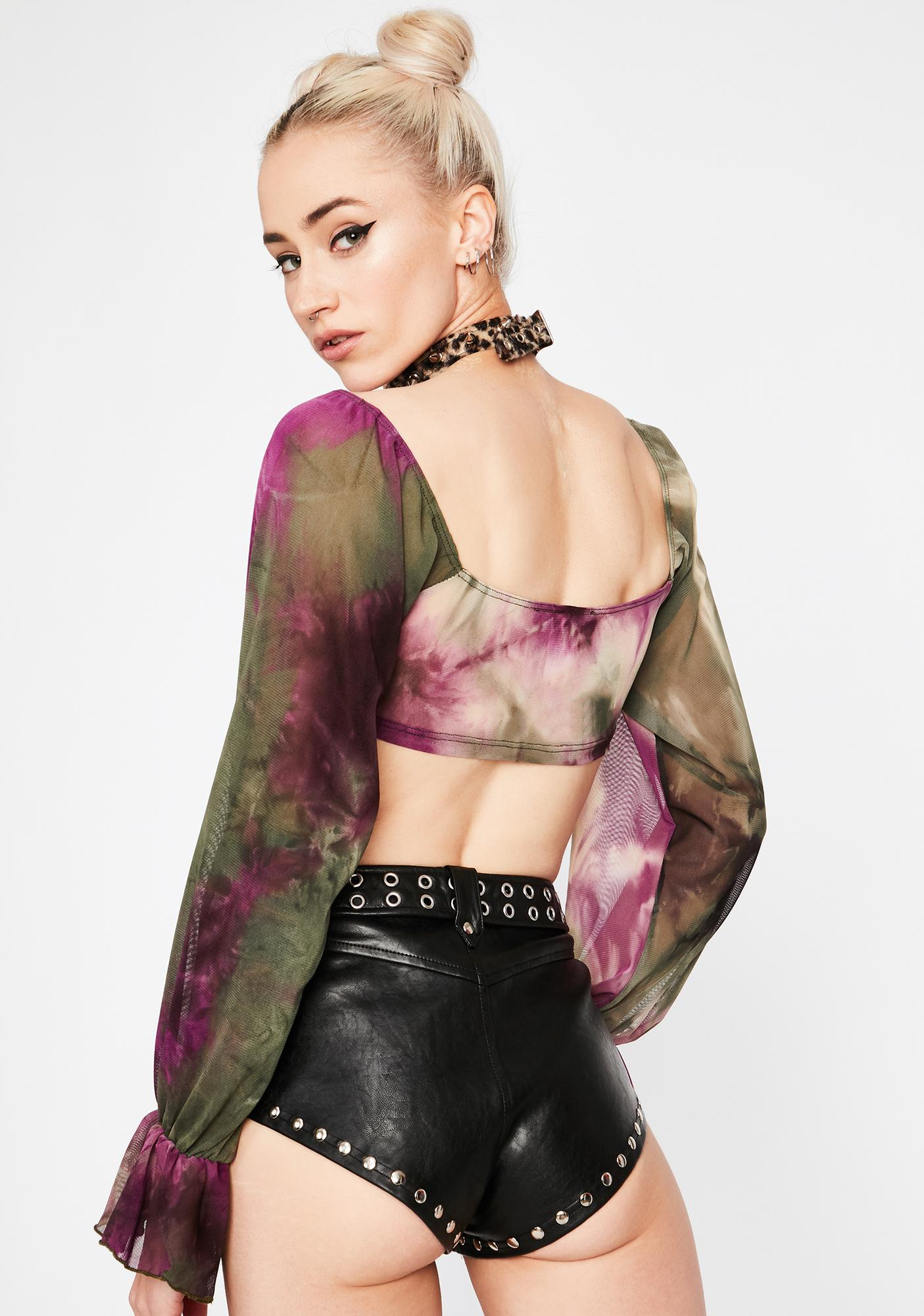 Purp Give It Up Tie Dye Crop Top