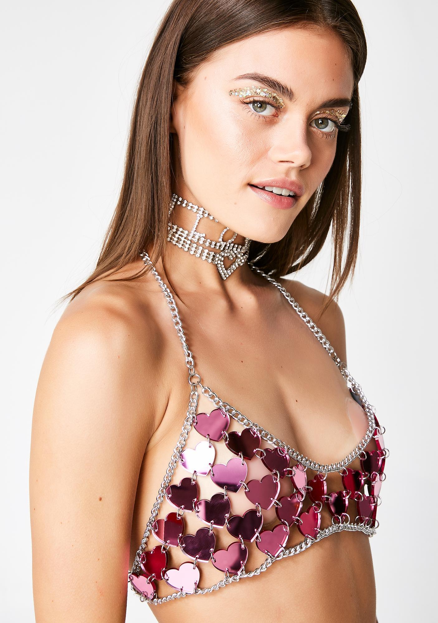 Claudia Pink Jewellry Heart Bralette