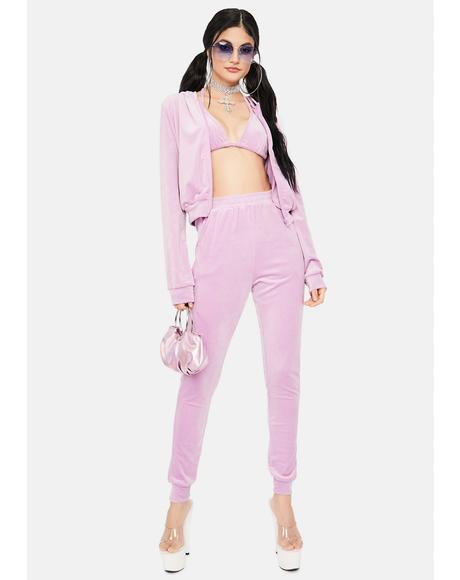 Lavender High Demand Velour Jogger Set