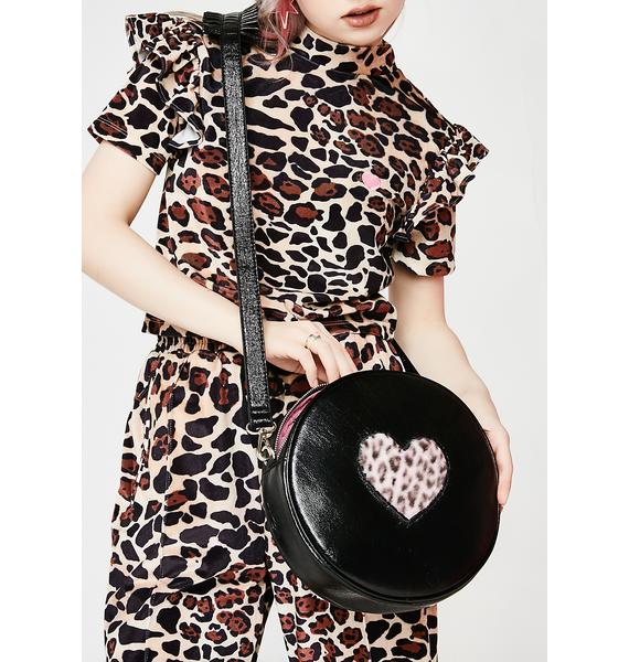 Lazy Oaf Pink Fur Heart Vinyl Bag