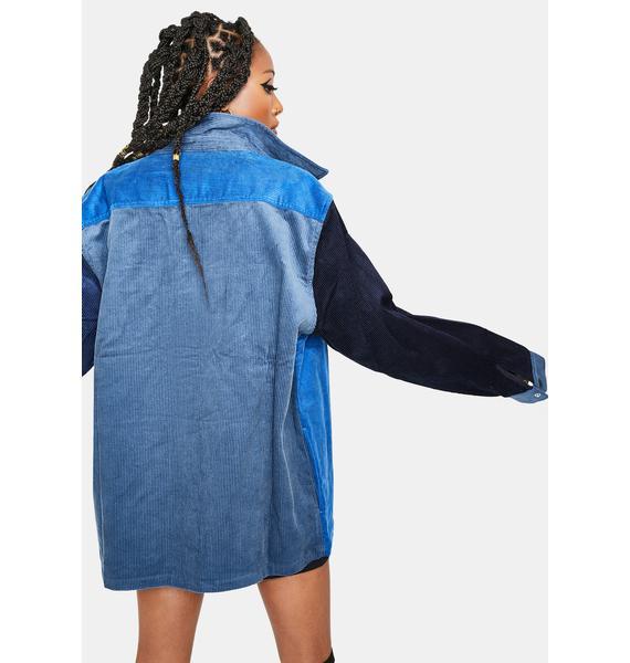 HUF Blue Cord Block Overshirt