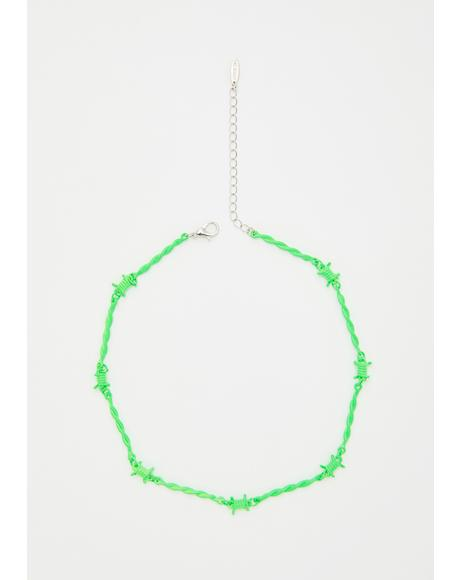 Slime Neon Danger Barbed Wire Choker