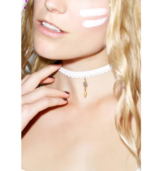Vanessa Mooney White Lace Teardrop Choker