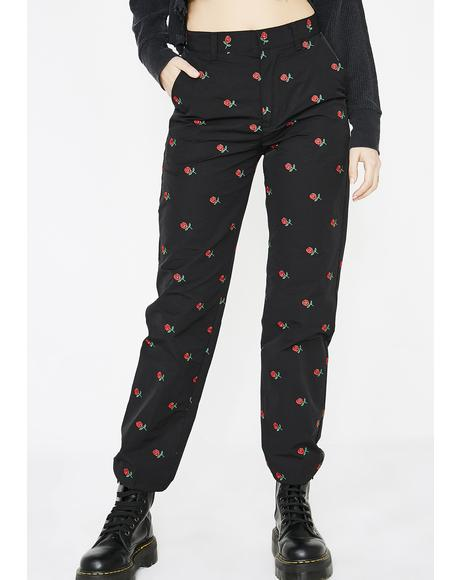 Rose Embroidered Pants