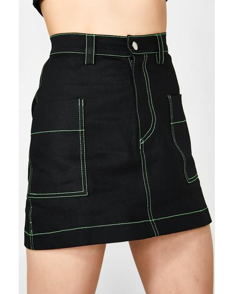 Neon Stitch Utility Skirt