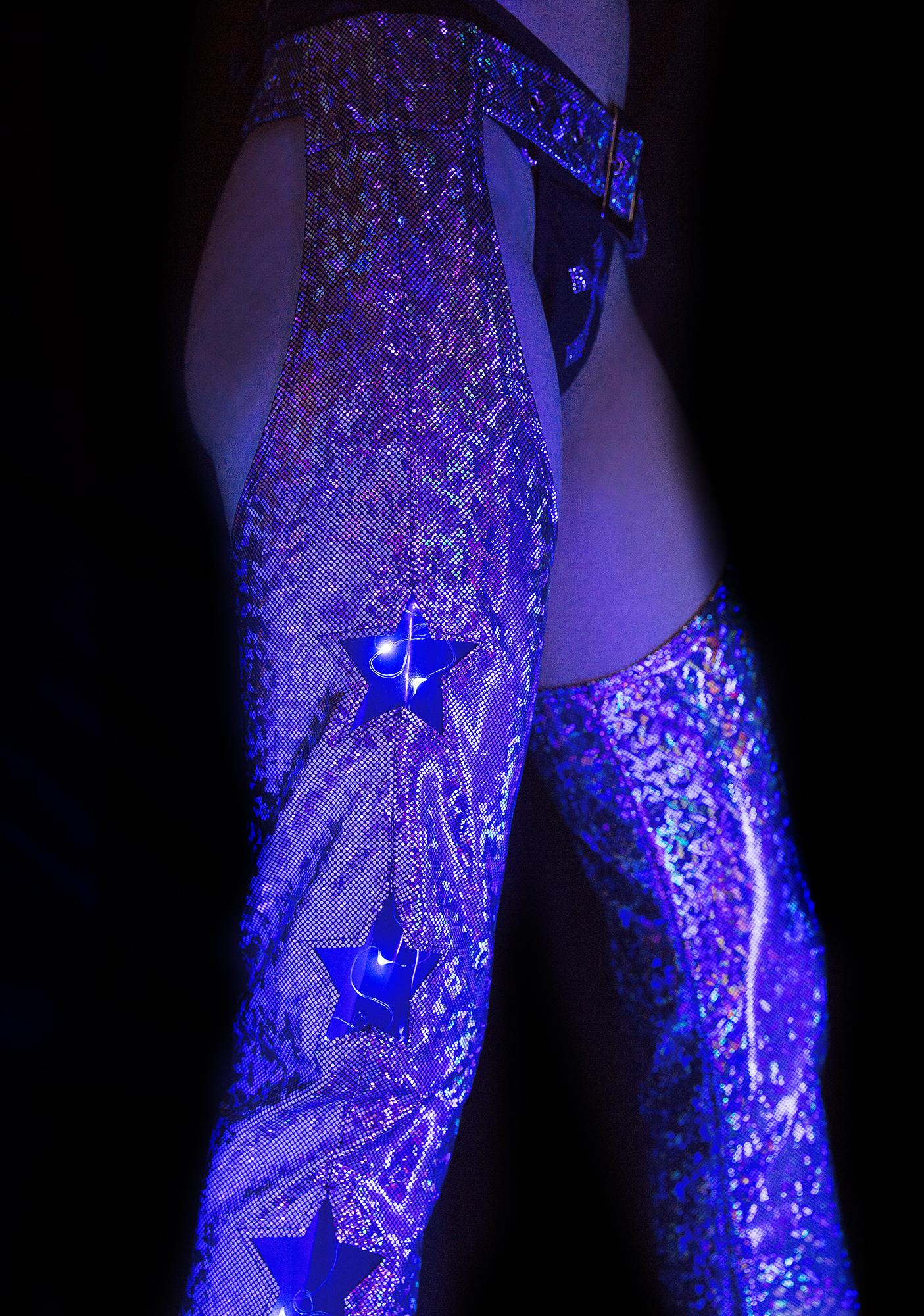 J Valentine Holographic Star Girl Light-Up Chaps