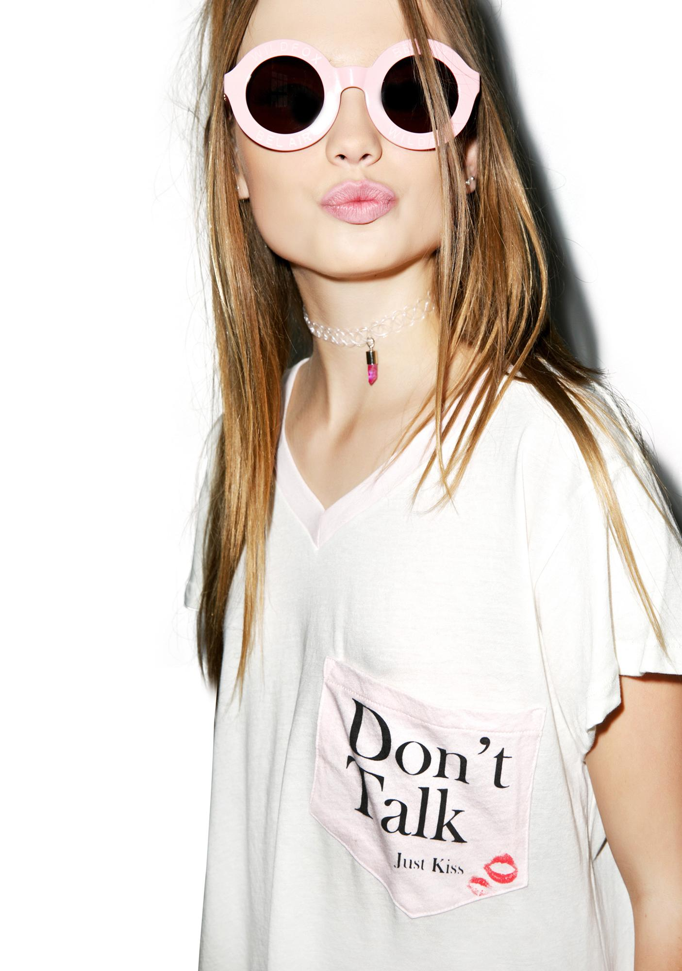 Wildfox Couture Don't Talk Just Kiss Romeo Pocket V-Neck Tee