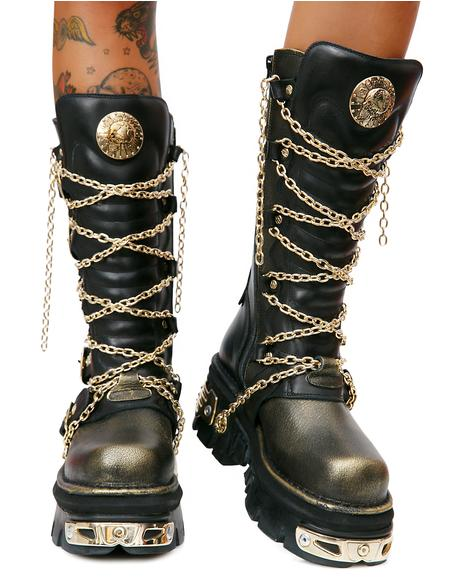 Golden Embers Chained Boots