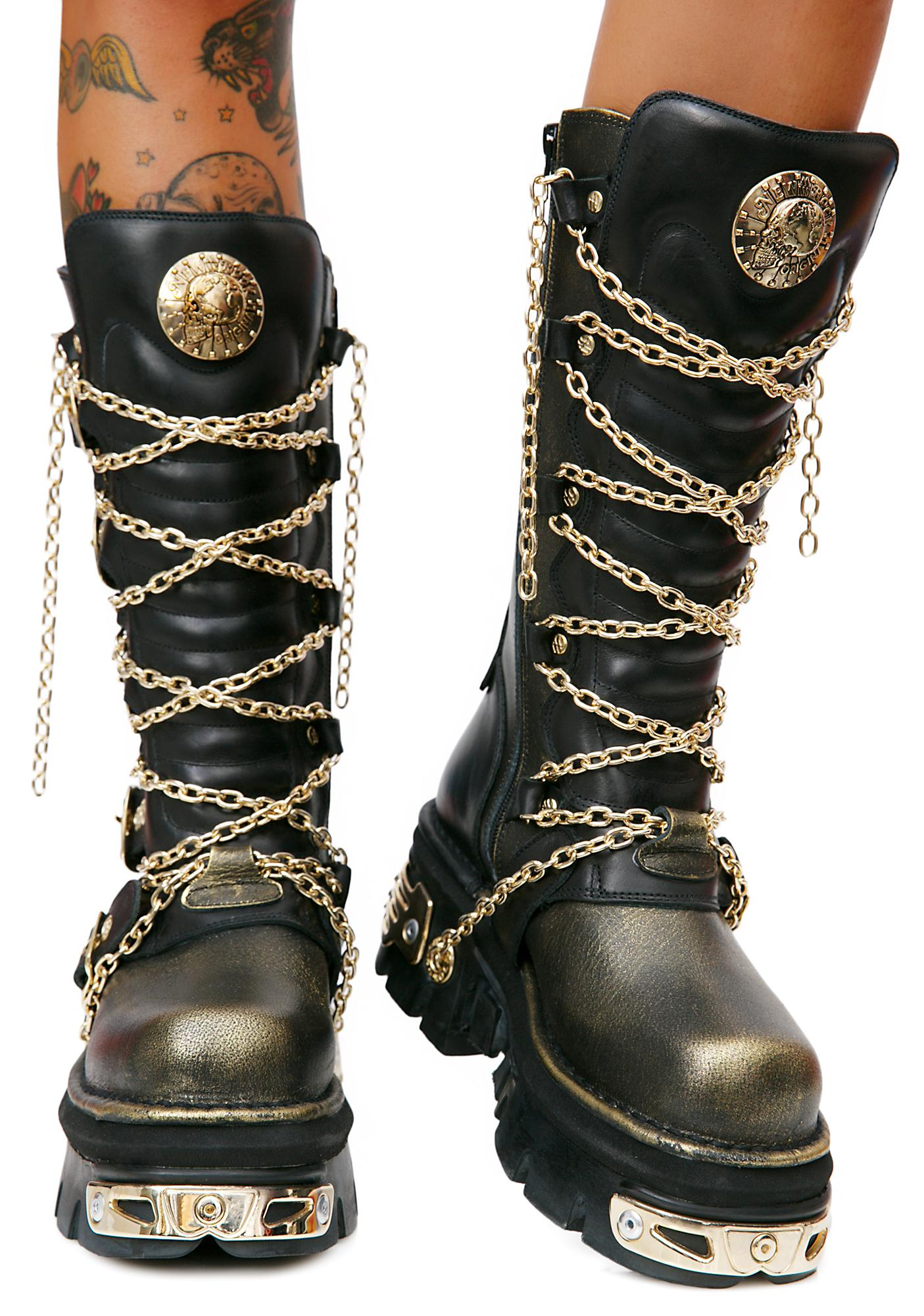 New Rock Golden Embers Chained Boots