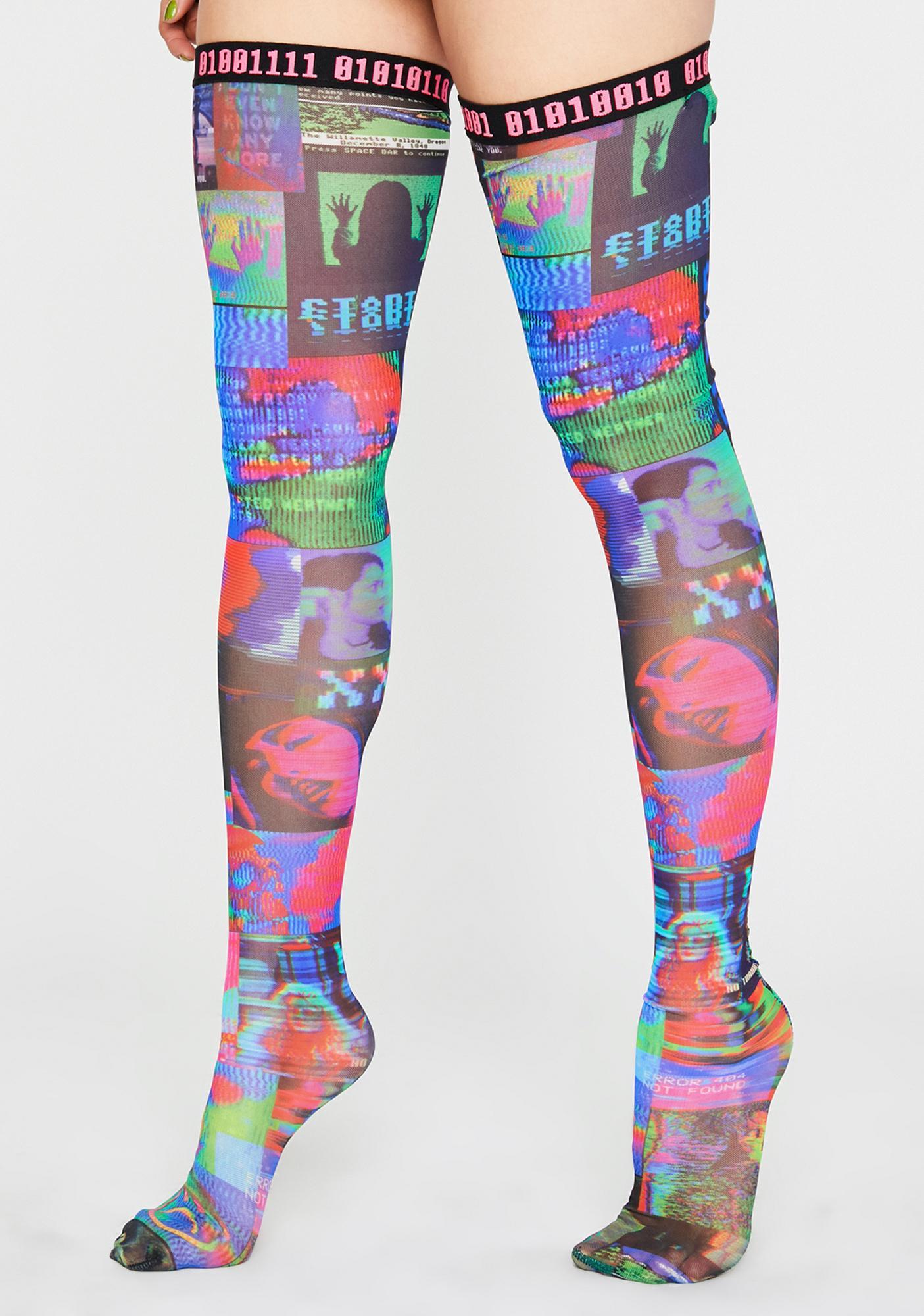 HOROSCOPEZ Human Error Thigh High Socks