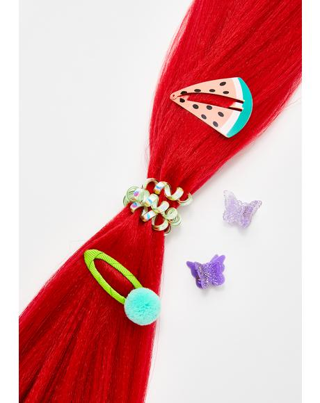 Neon Red Add In Hair Extensions