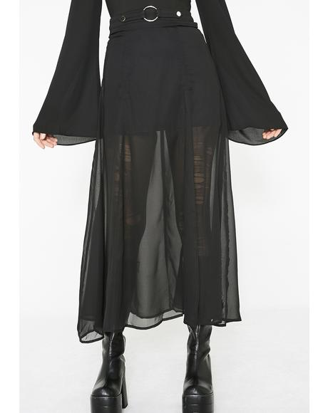 Punk Chiffon Slit Skirt