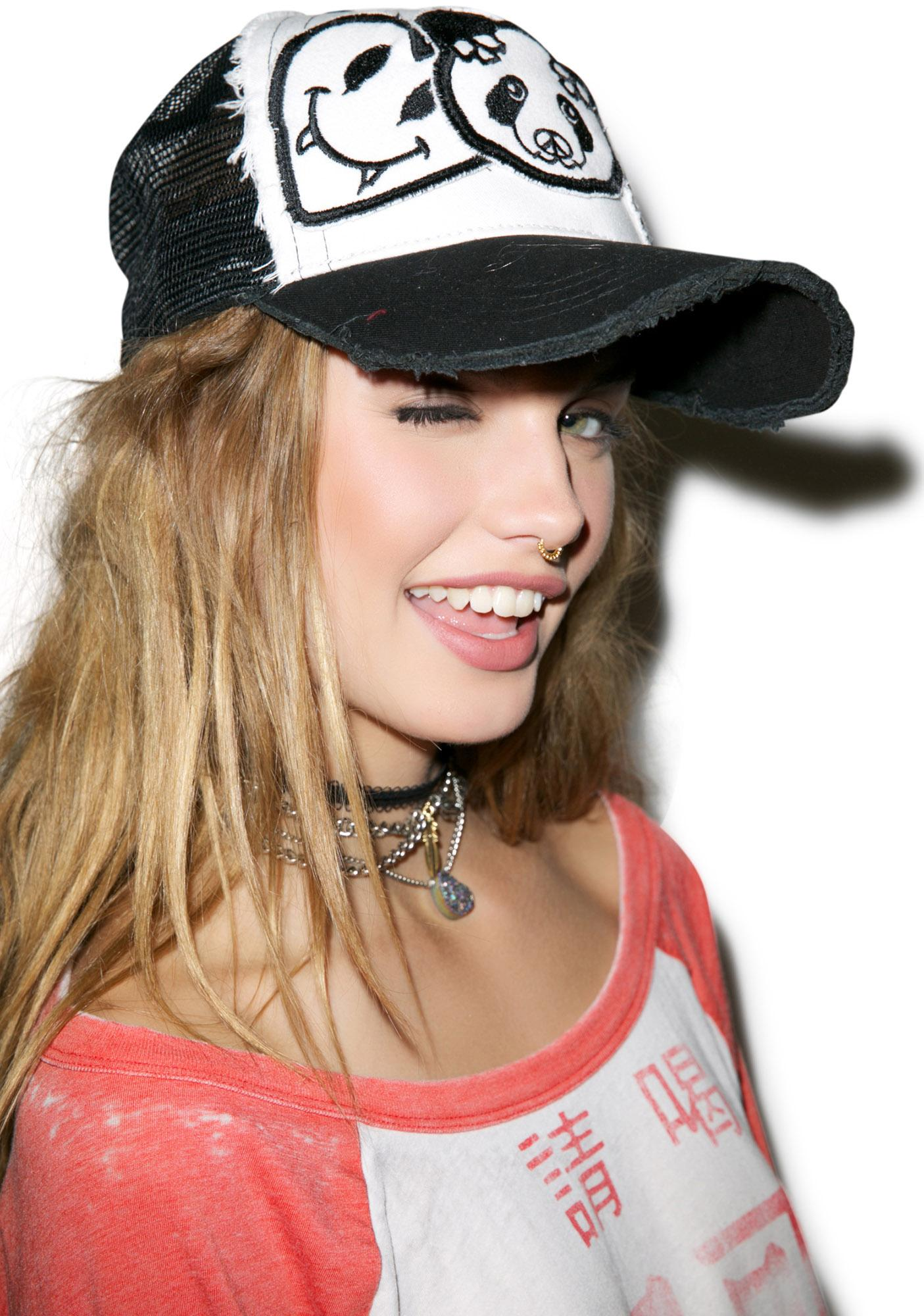 Lauren Moshi Jilly Skull Panda Patch Combo Trucker Hat