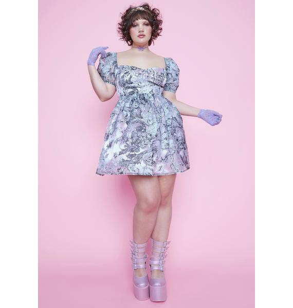 Sugar Thrillz You're Draped In Dawn Sheer Embroidered Babydoll Dress