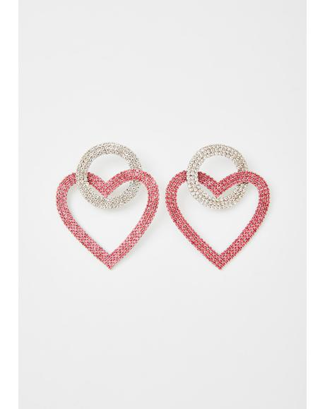 Stunna Sweetheart Rhinestone Earrings