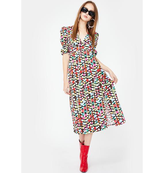 Glamorous Scatter Spot Puff Sleeve Midi Dress
