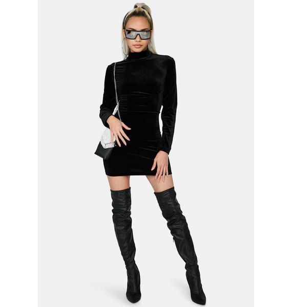 Glamorous Black Velvet Mini Dress