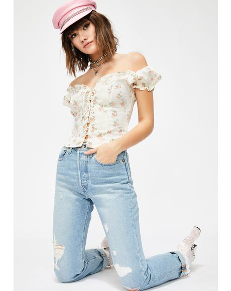 Woodland Romp Lace Up Top