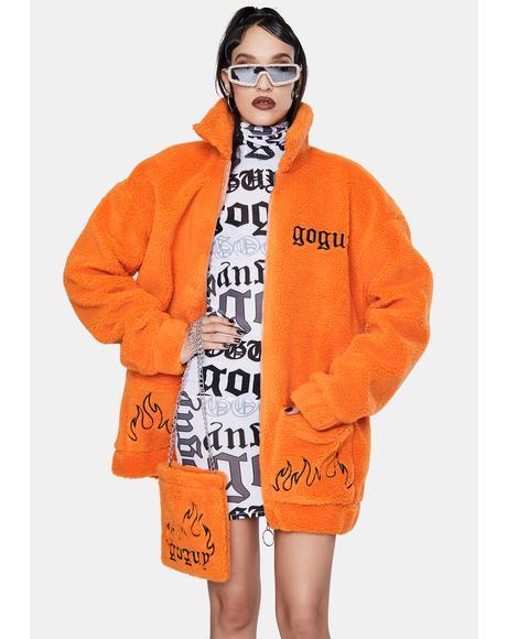 Orange Teddy Jacket And Bag Set