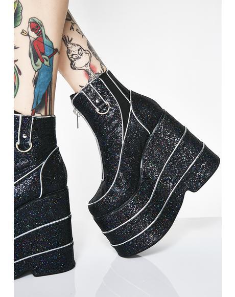 Blackout Discotheque Glitter Platform Boots