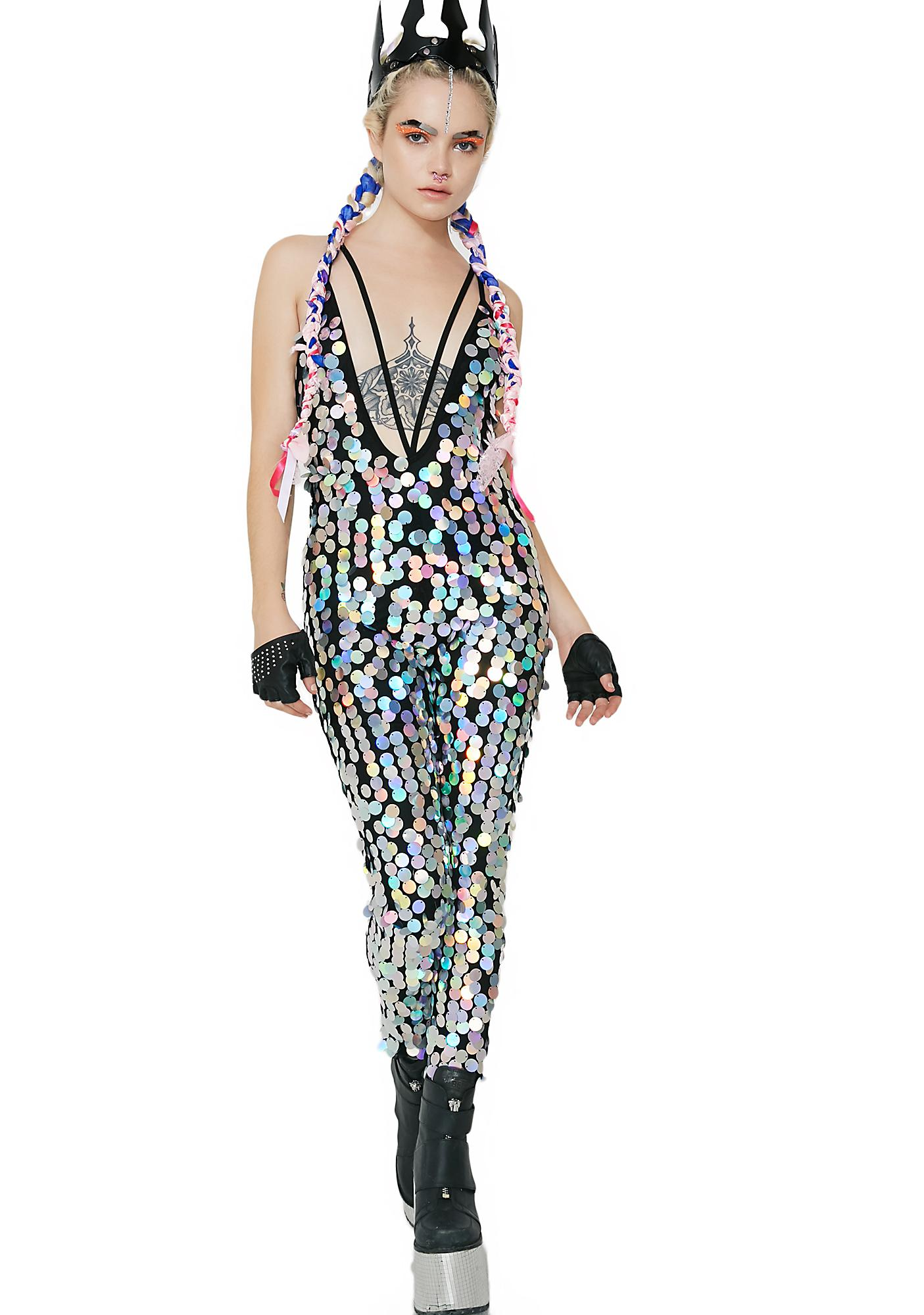 Jaded London Holographic Sequin Plunge Catsuit