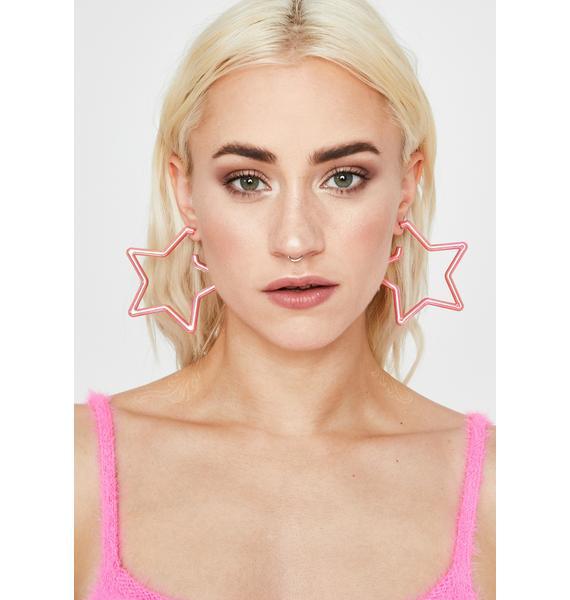 Cherry Helix Hologram Star Earrings