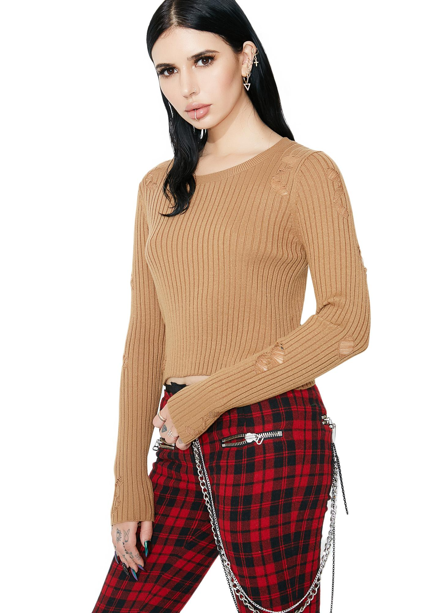 Movin' On Distressed Sweater
