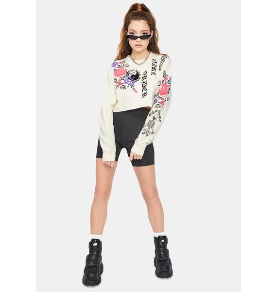 NEW GIRL ORDER Floral Cropped Crewneck Sweatshirt