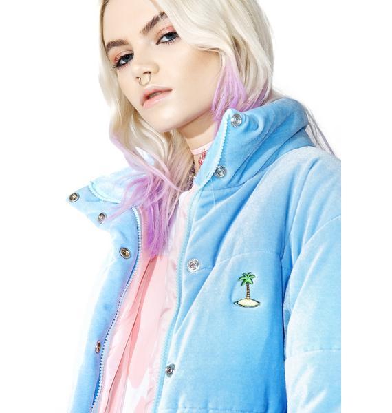 Local Heroes Baby Blue Velvet Puffa Jacket