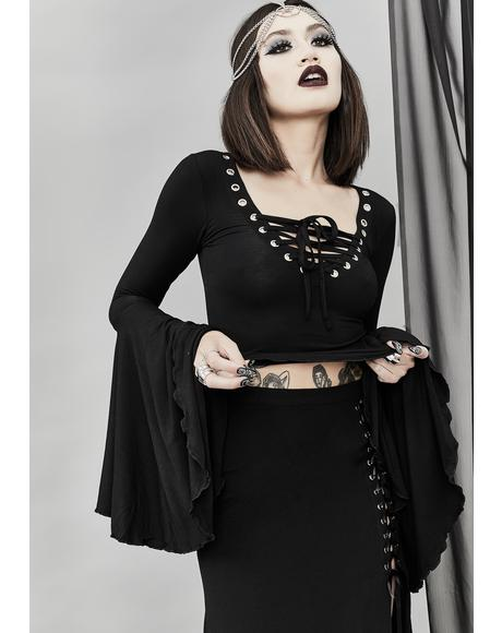 Happy Haunting Lace Up Top
