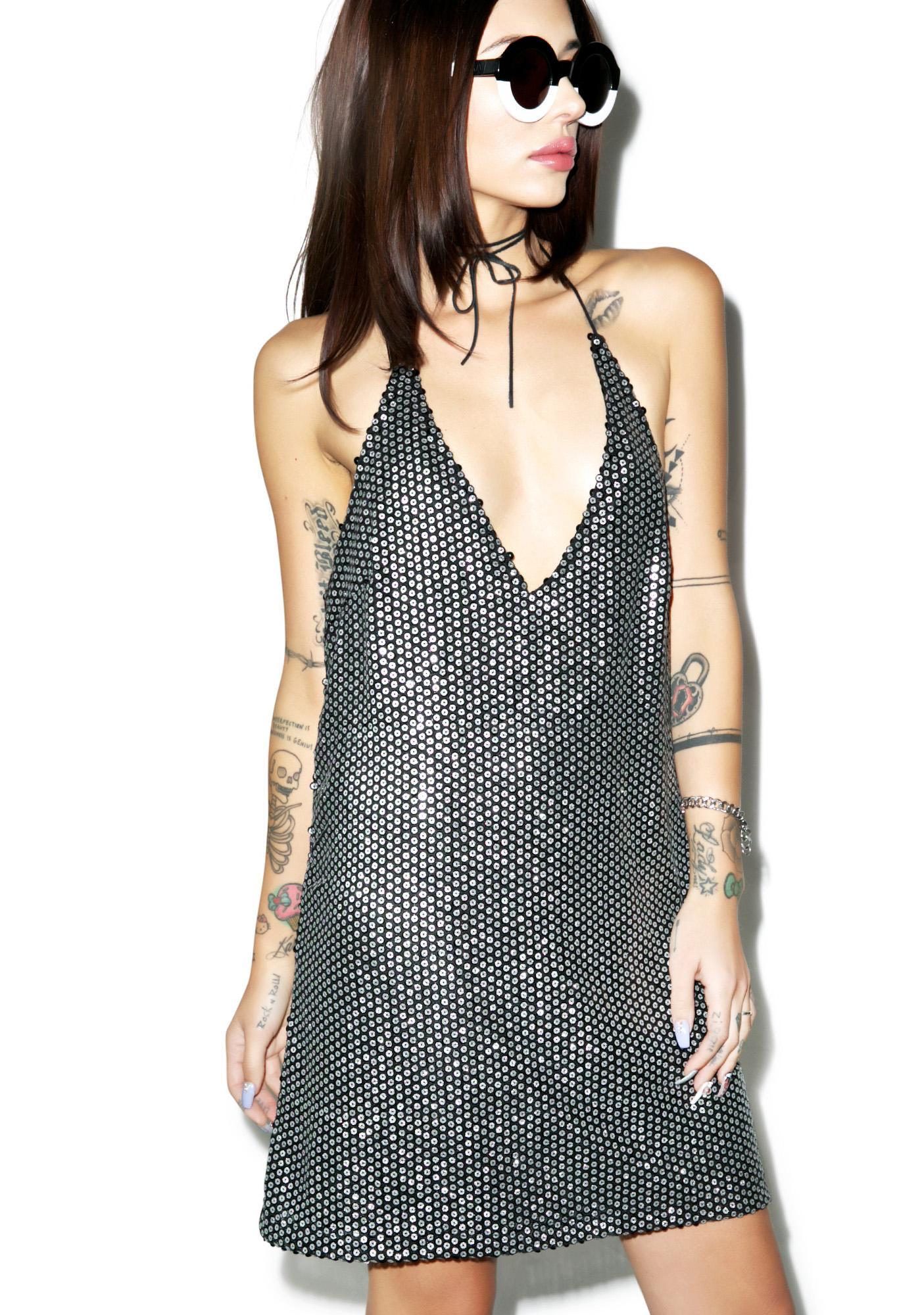 Motel Allie Sequin Slip Dress