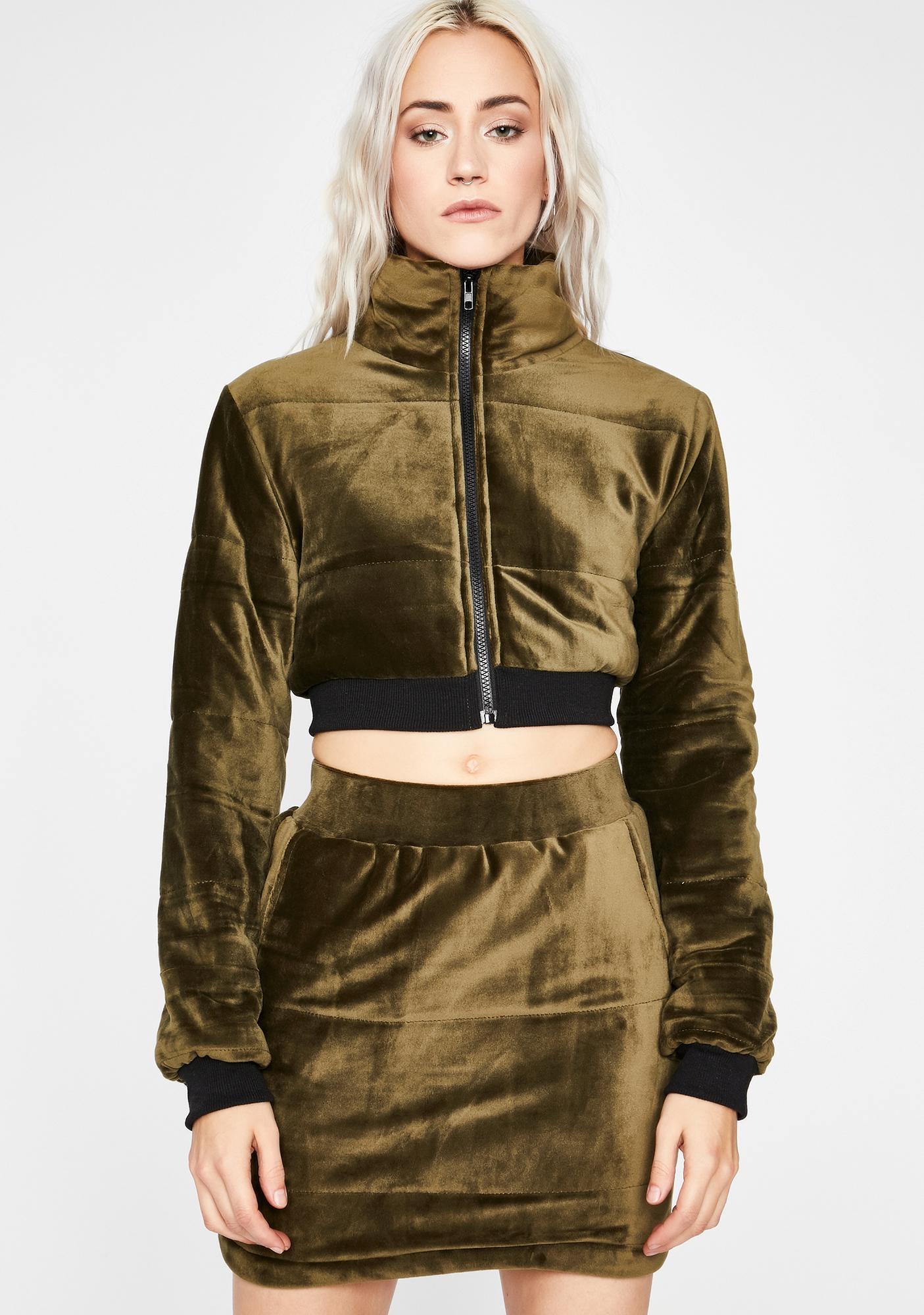 Olive Make 'Em Sweat Skirt Set