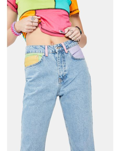 Illuminate Colorblock Pocket Mom Jeans