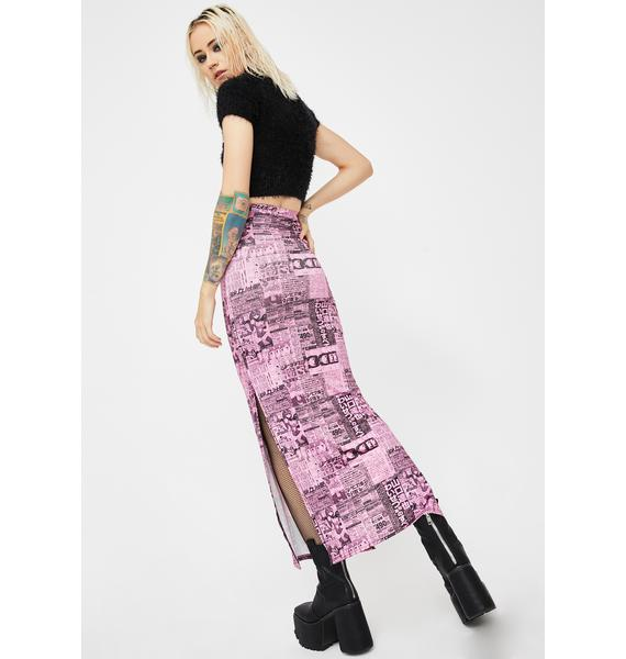 NEW GIRL ORDER Newspaper Print Midi Skirt
