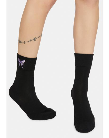 Flutter Around Butterfly Embroidered Crew Socks
