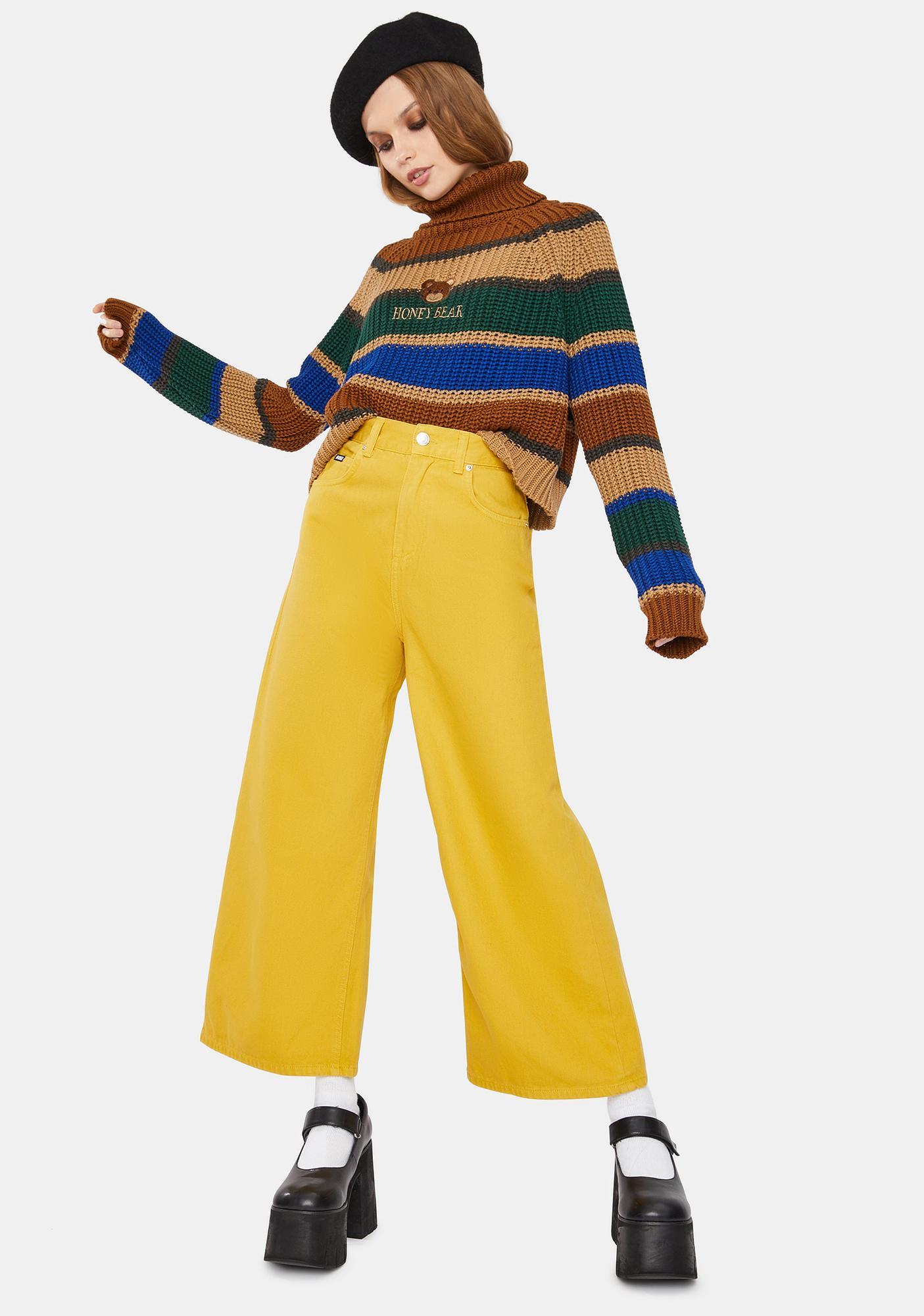 Minga Mustard Yellow Kick Flare Jeans