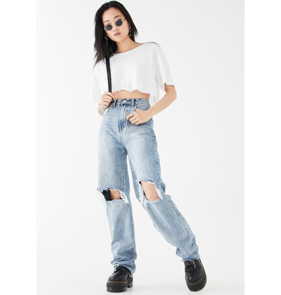 Momokrom Straight Leg Distressed Denim Jeans