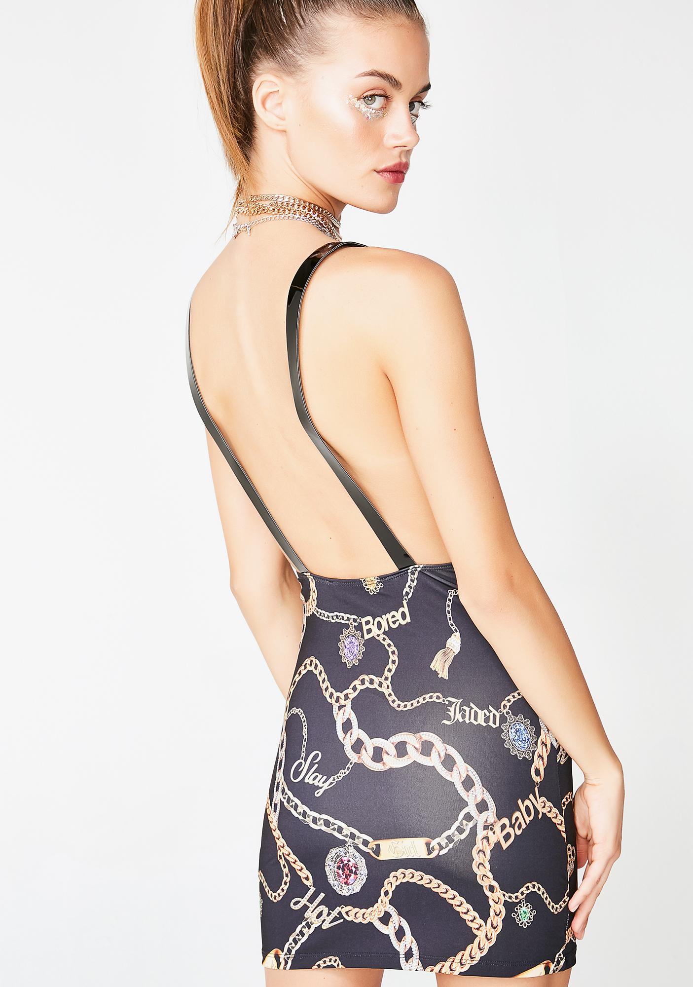 Jaded London Chain Print Square Neck Mini Dress